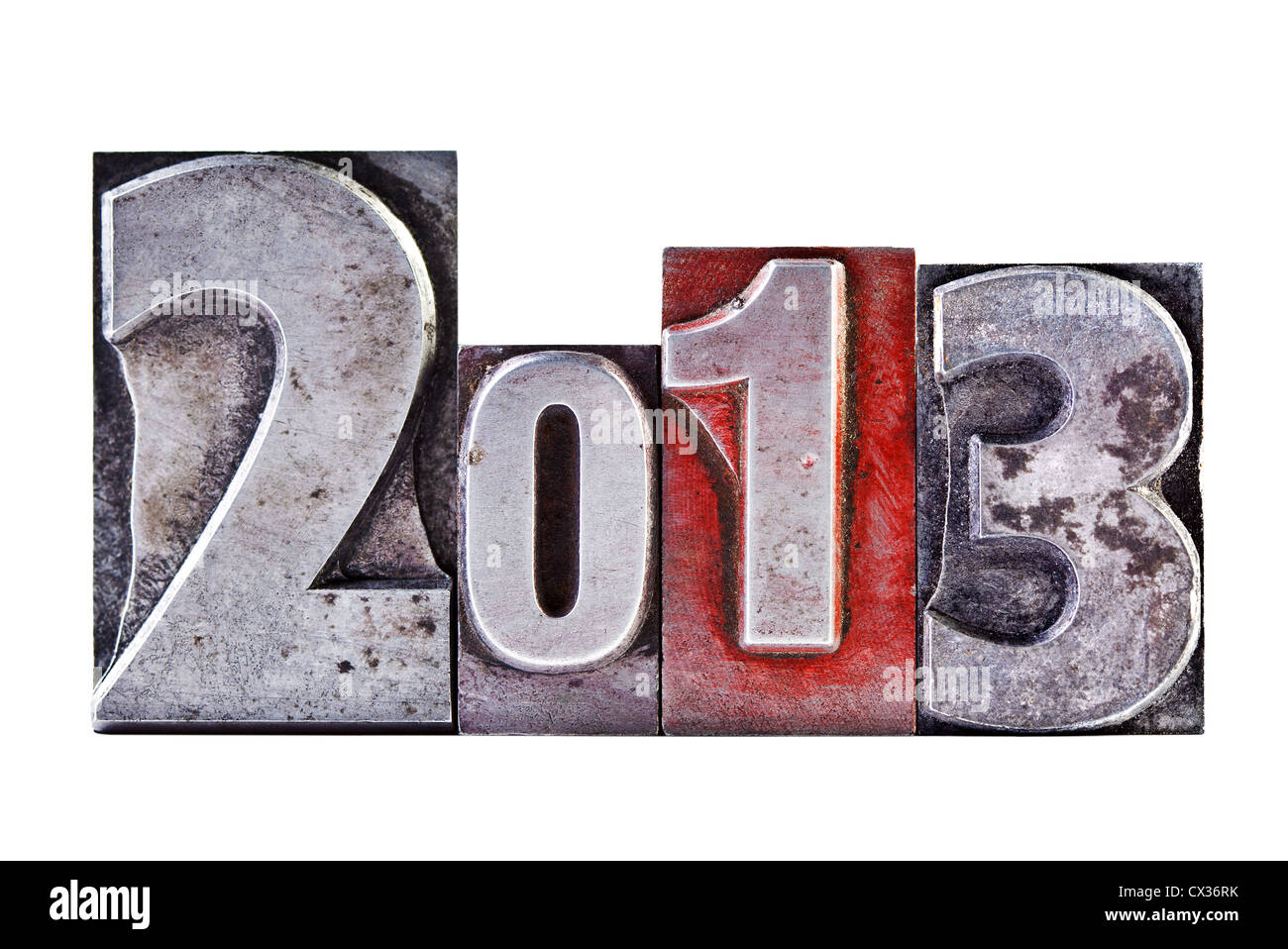 The numbers or date 2013 in old worn letterpress, isolated on a white background. - Stock Image