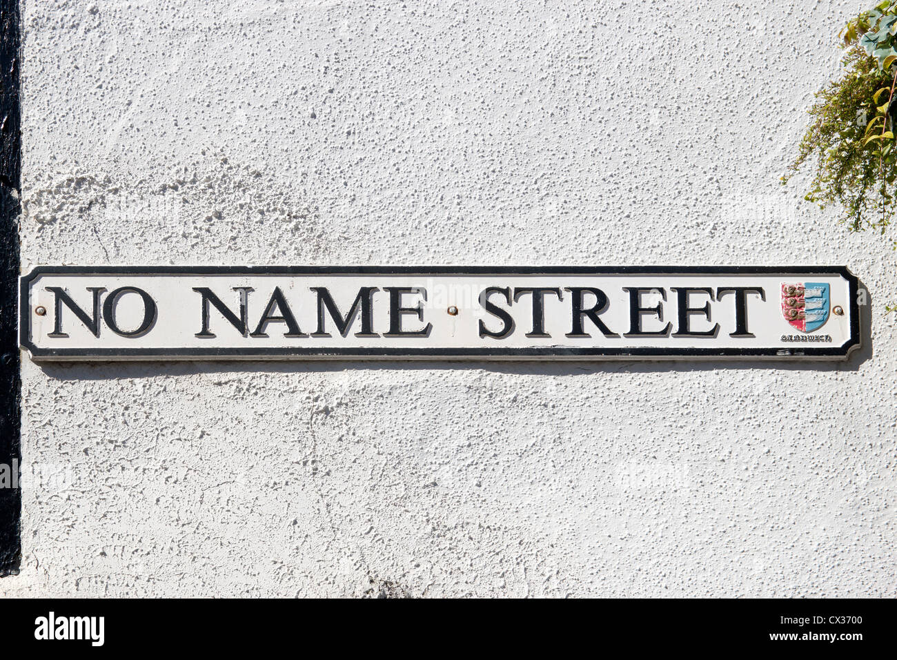 No Name Street Sign Sandwich Kent England UK Cinque Port Town - Stock Image