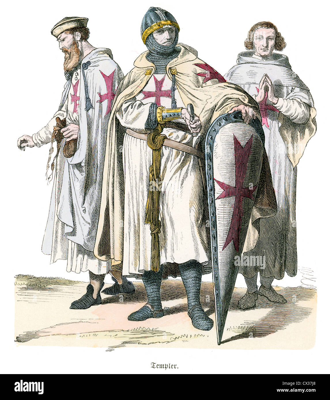 Knights Templar, 12th to 13th Century. The Poor Fellow-Soldiers of Christ and of the Temple of Solomon, - Stock Image