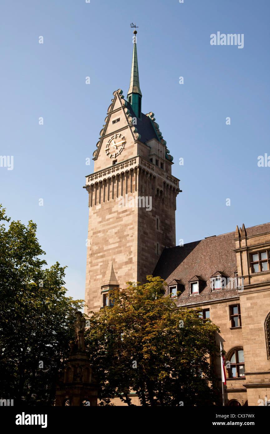 town hall tower in Duisburg Duisburg, North Rhine-Westphalia, Germany, Europe - Stock Image