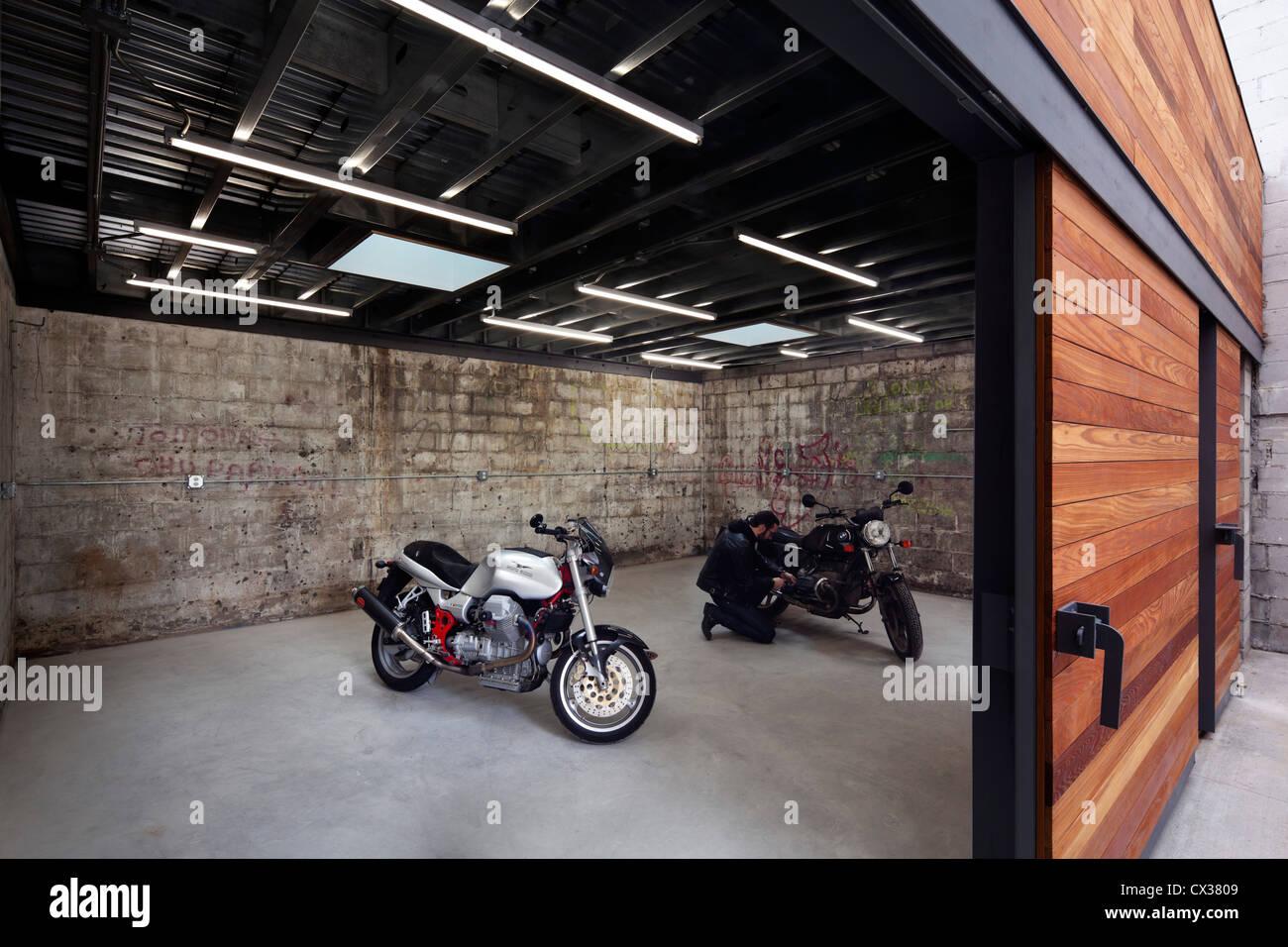 Bushwick Motorcycle Garage And Garden Brooklyn United States Stock