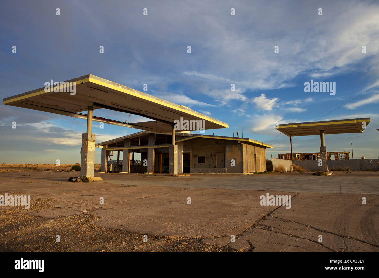 Abandoned Gas Station Near The Ghost Town Of Two Guns Arizona On Stock Photo Alamy