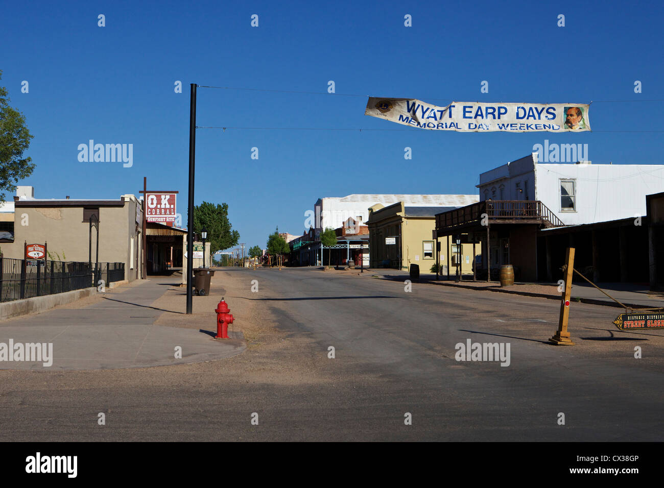 Allen street in Tombstone, Arizona near the O.K. Corral - Stock Image