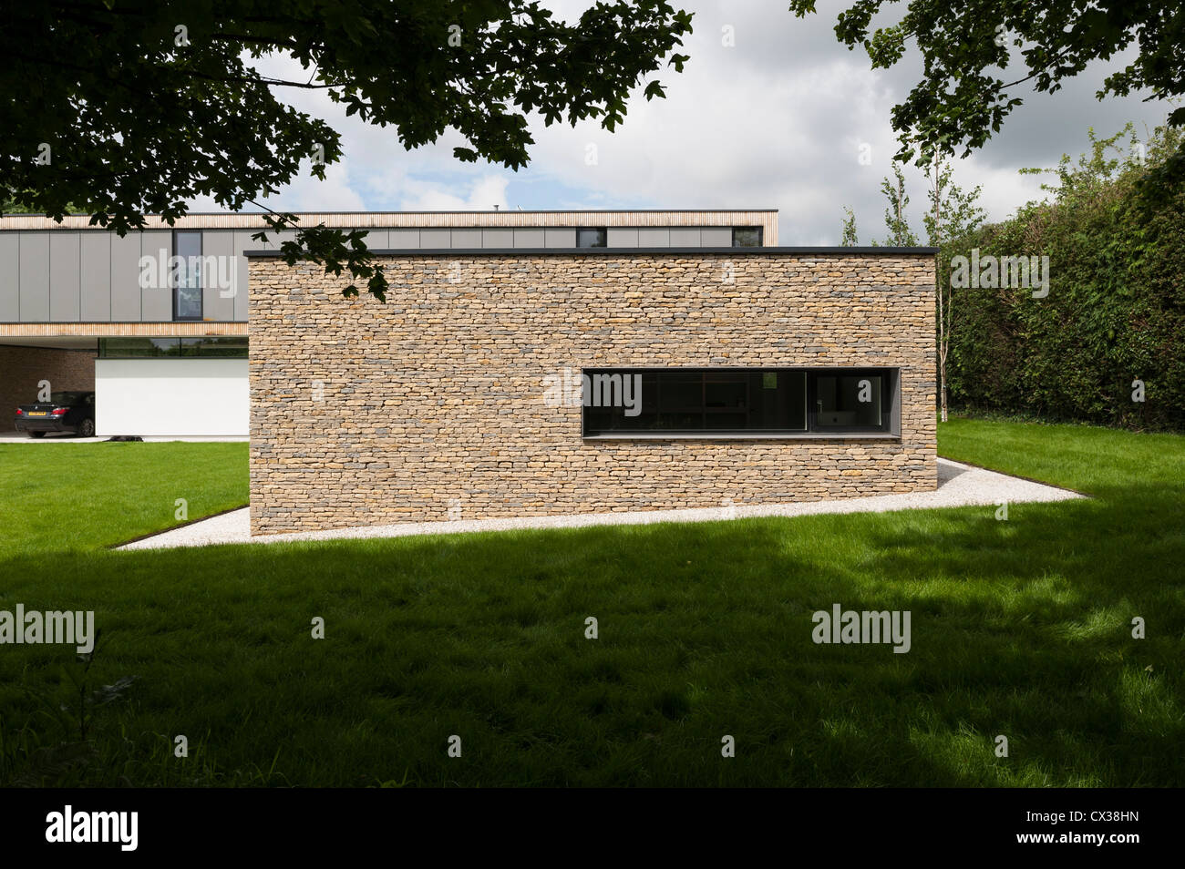 Hurst House, Bourne End, United Kingdom. Architect: John Pardey Architects with Strom Architects, 2011. View from - Stock Image