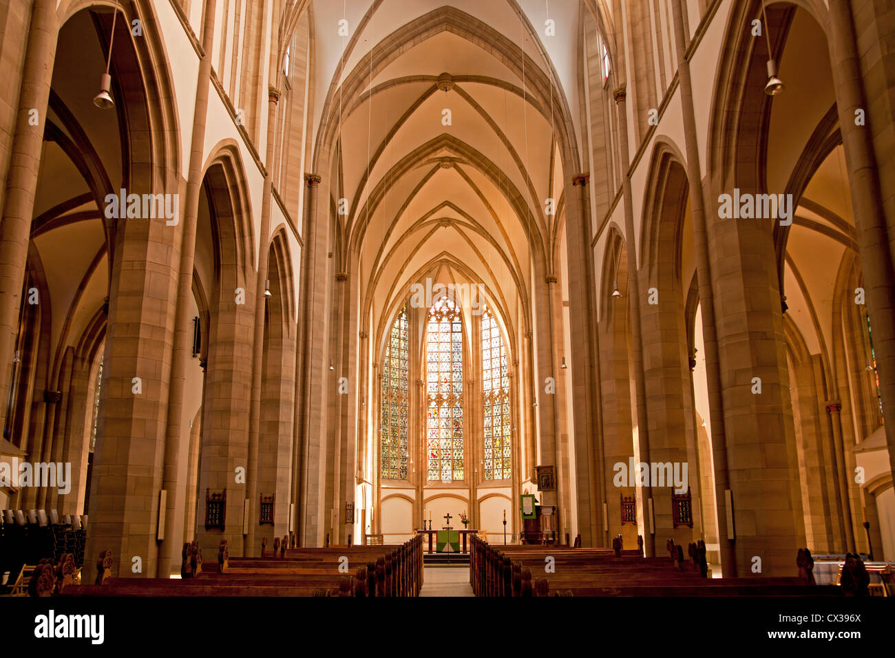 inside of the church Salvatorkirche in Duisburg, North Rhine-Westphalia, Germany, Europe - Stock Image
