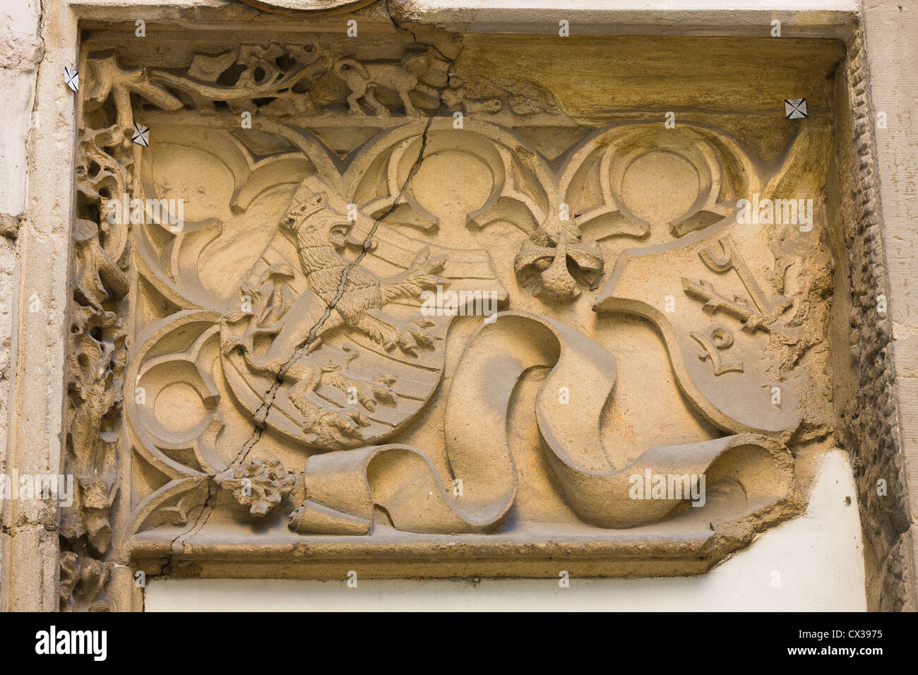 Luxembourg City - Relief with a coats of arms with the red lion on a building of the national museum of Arts and - Stock Image