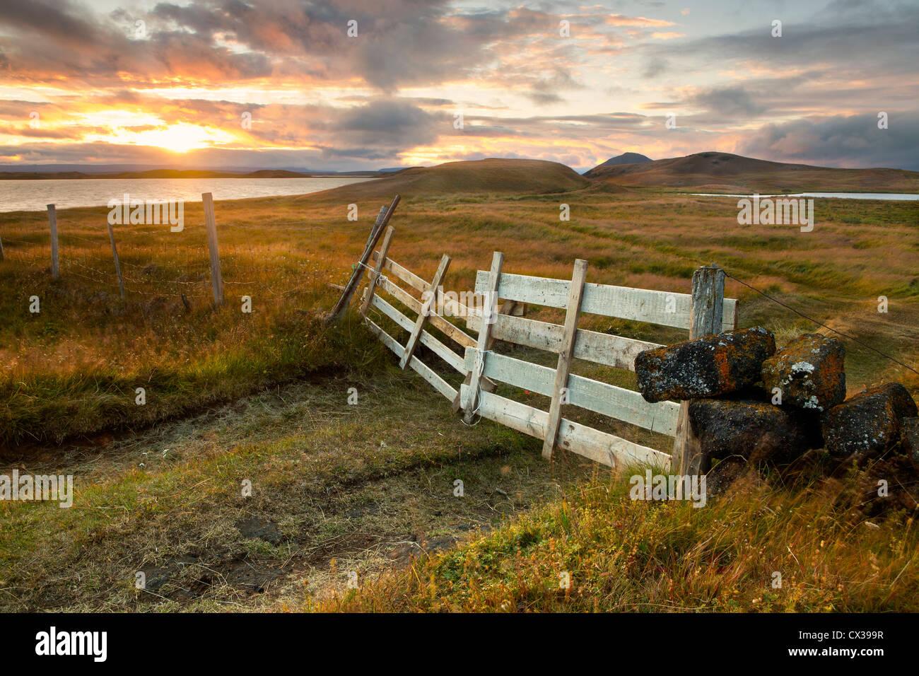 Sun Setting at Lake Myvatn - Stock Image