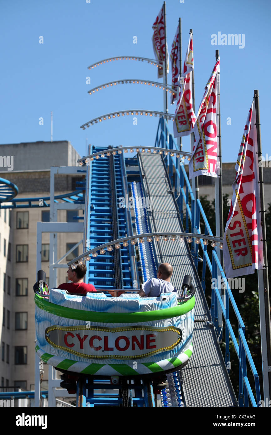 The Cyclone Rollercoaster part of the Priceless London Wonderground at Southbank Centre, Jubilee Gardens, London, - Stock Image