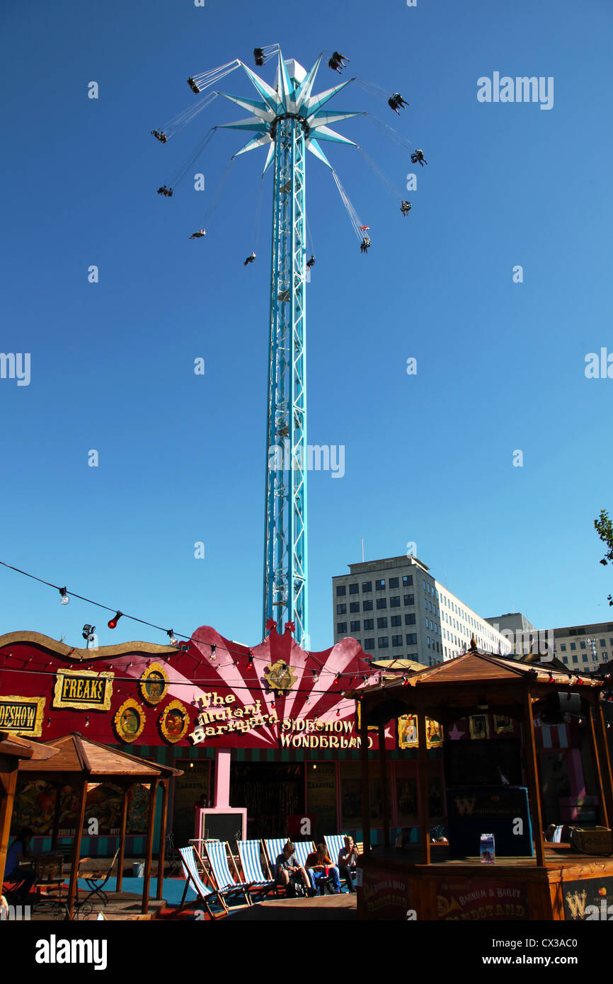 The Starflyer chair ride part of the Priceless London Wonderground at Southbank Centre, Jubilee Gardens, London, Stock Photo