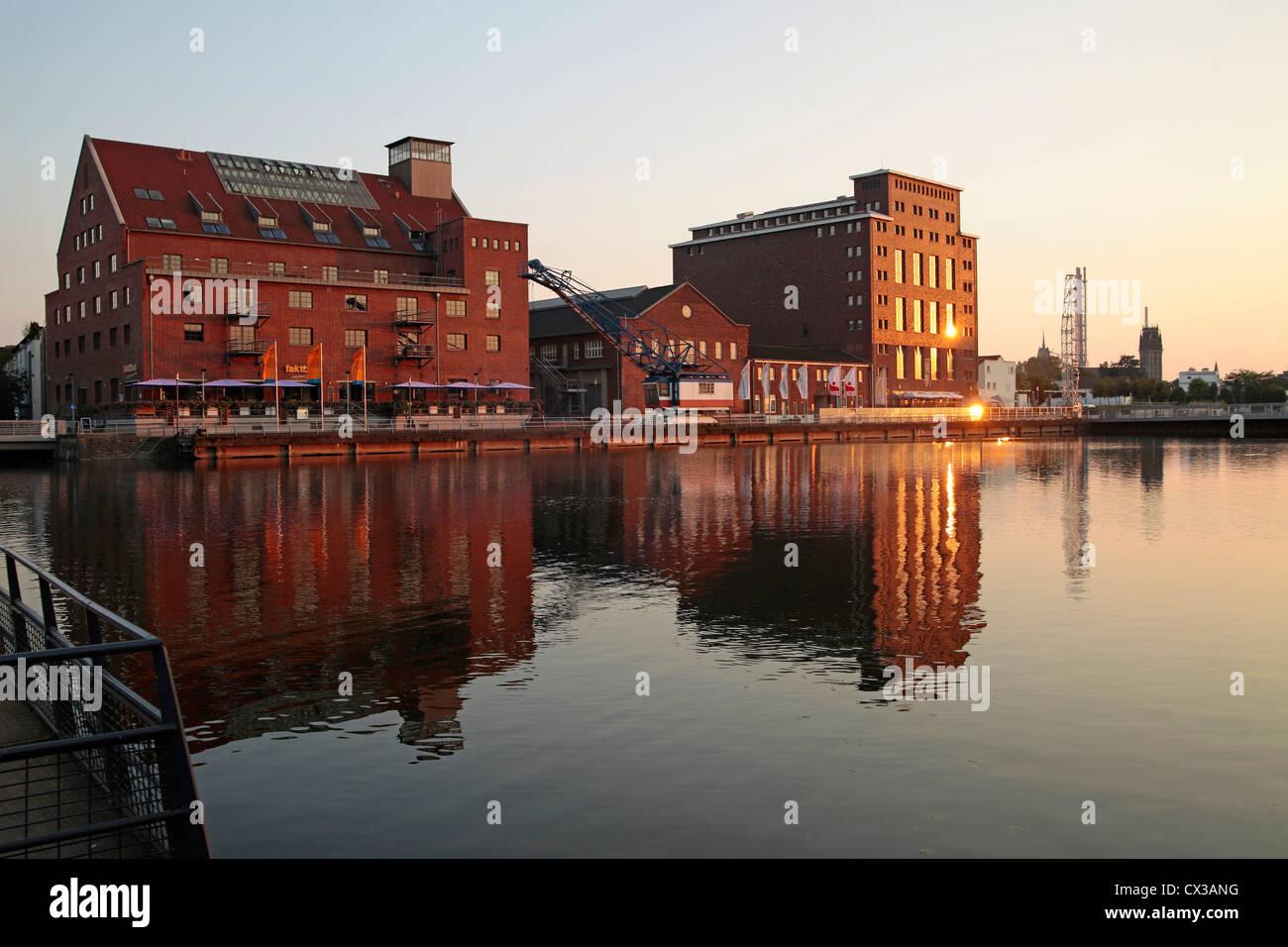 Duisburg Inner Harbour with Warehouse Werhahnmuehle, North Rhine-Westphalia, Germany, Europe - Stock Image