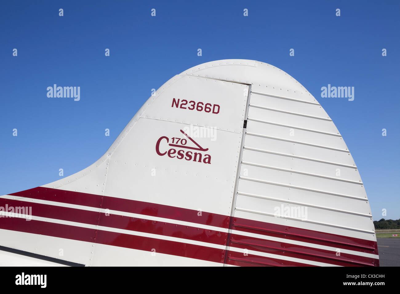 Tailplane and logo, Cessna 170 reg N2366D - Stock Image