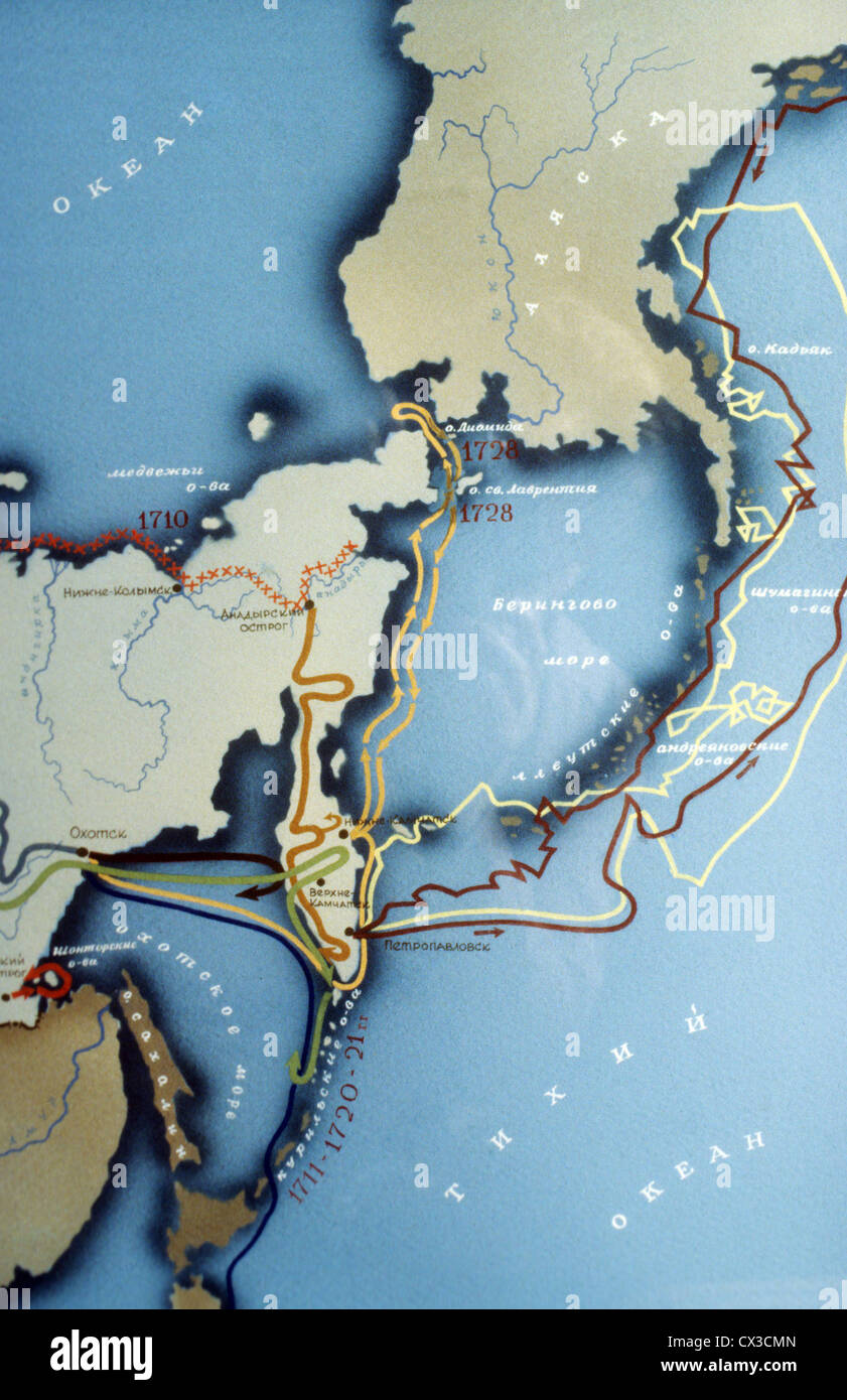 ITAR-TASS: Detail of a map showing the route of expeditions led by Danish-born Russian explorer Vitus Jonassen Bering. - Stock Image