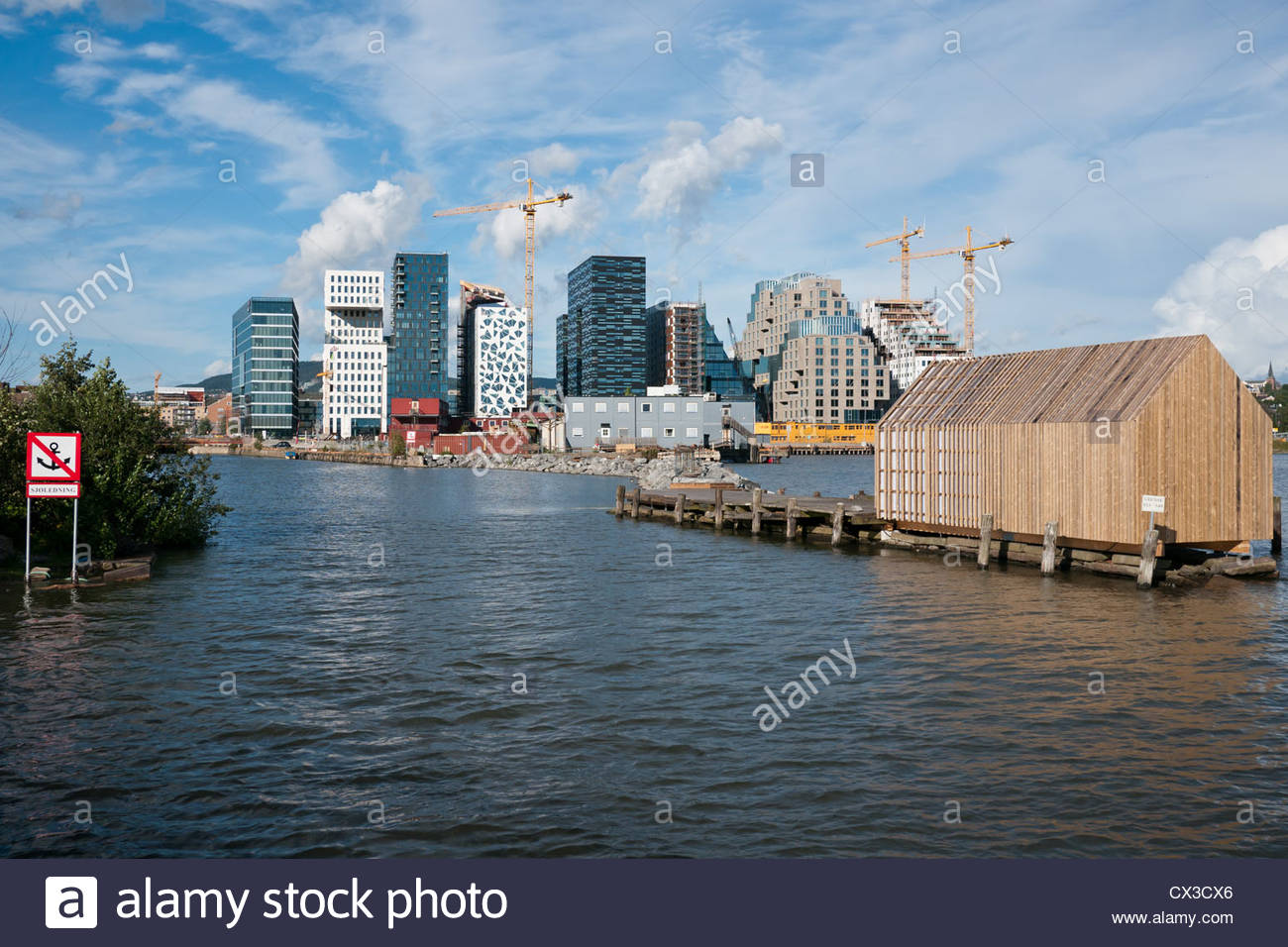 Barcode Project construction - part of the Bjørvika, Fjordcity regeneration of the Oslo waterfront. - Stock Image