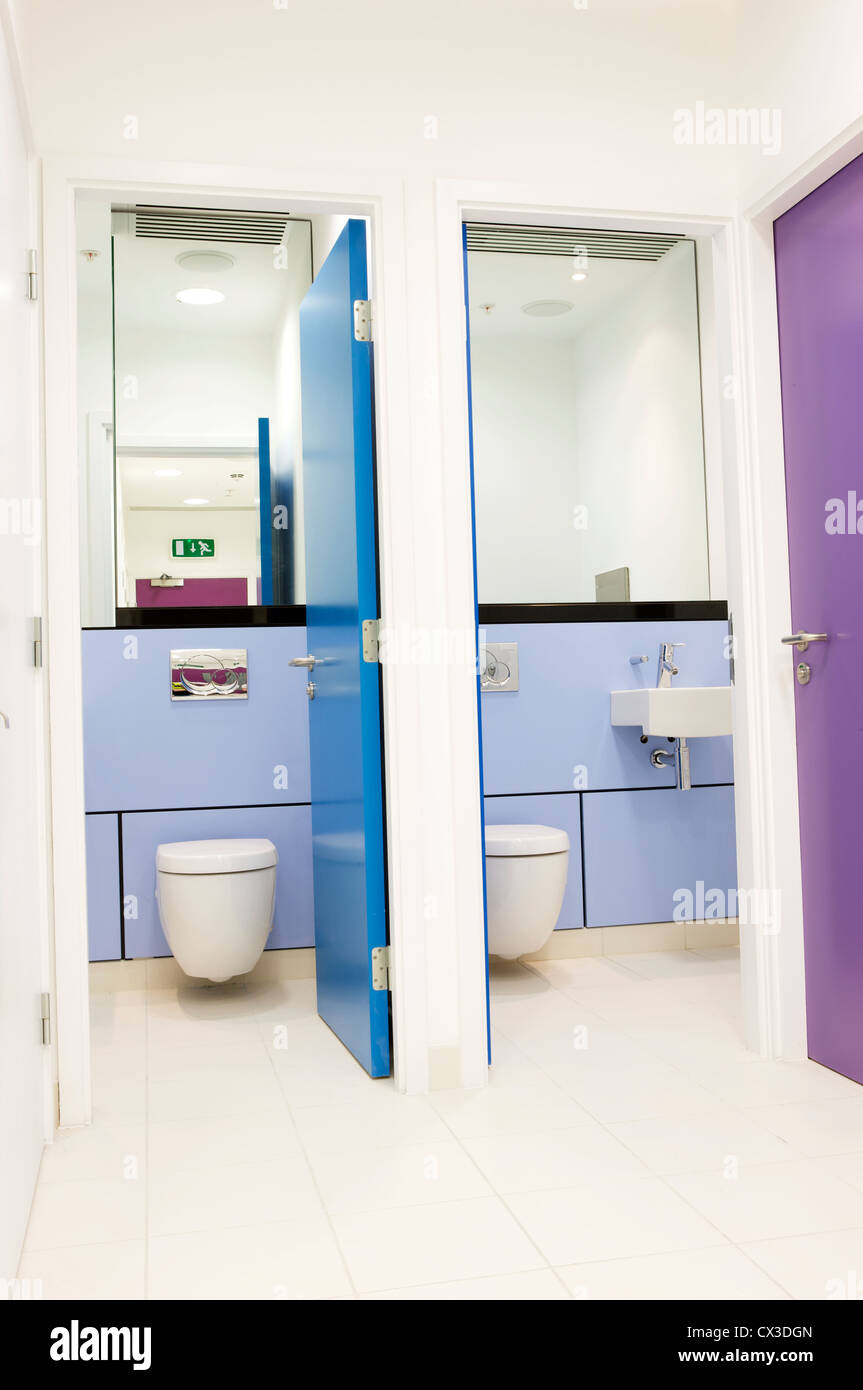 Contemporary office bathroom, toilet cubicle, interior design Stock ...