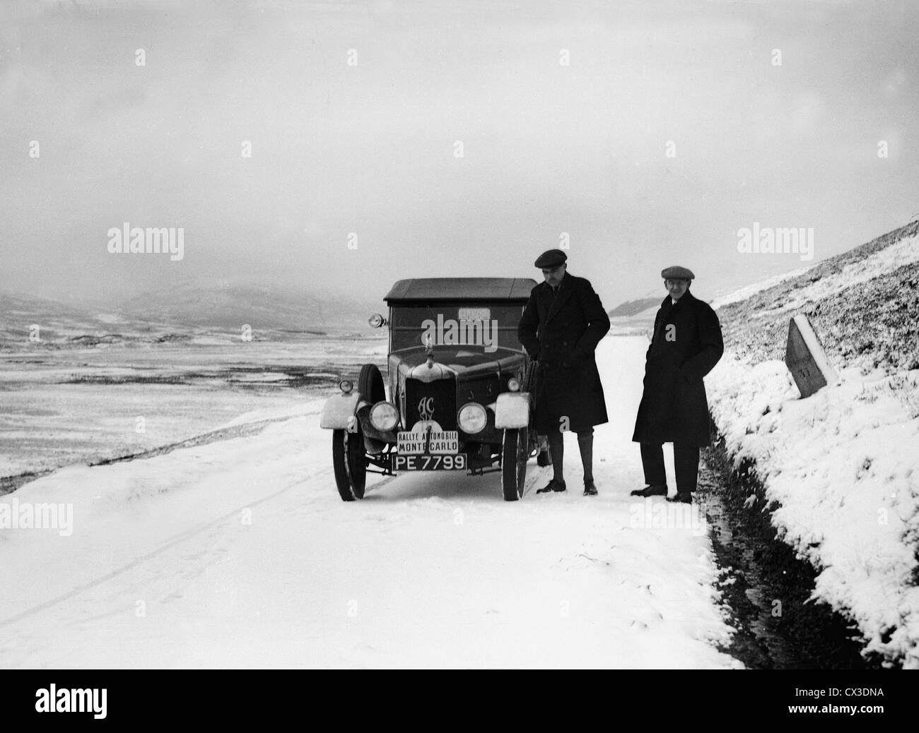 1926 Monte Carlo Rally. Winner Hon V.A. Bruce and co driver Bill Brunell with their A.C. - Stock Image