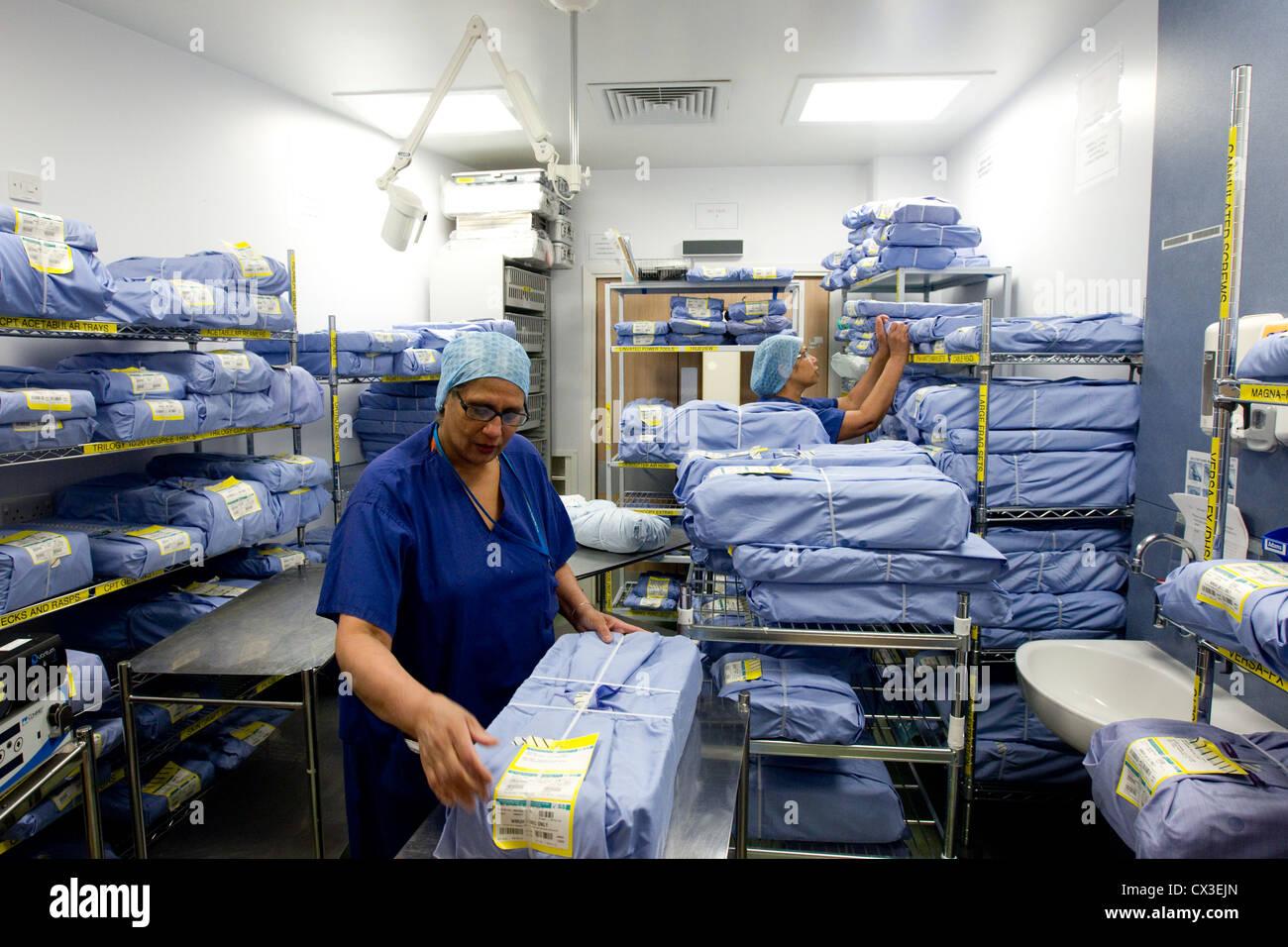 Hospital Linen room - Stock Image