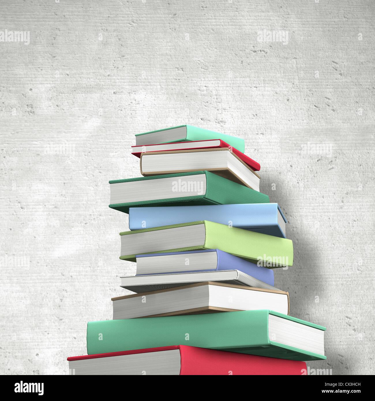 Buecherstapel aus Hardcoverbüchern mit farbigem Einband ohne Aufschrift - stack of books - Stock Image