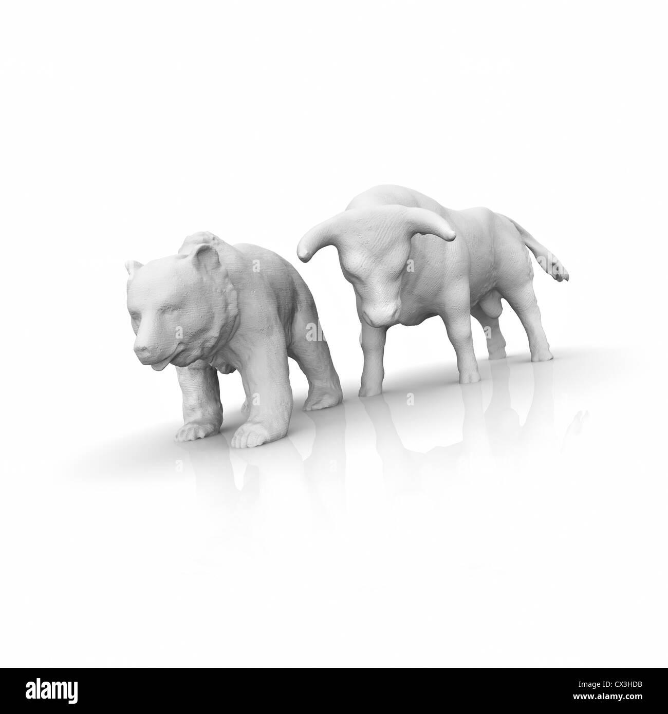 Börse, Bulle und Bär auf weissem Hintergrund - stock exchange, bull, bear - Stock Image