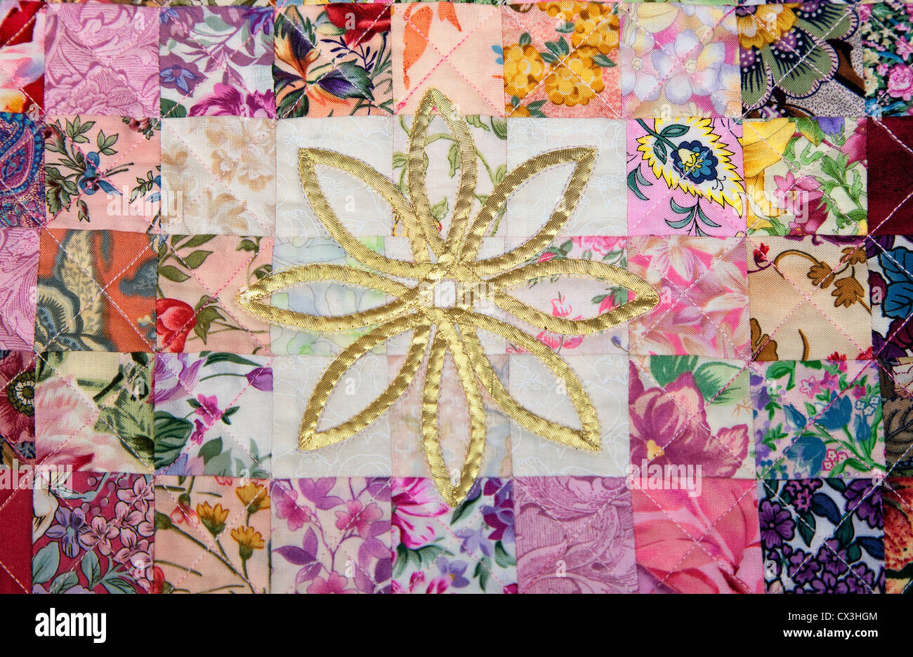Detail of a traditional patchwork quilt. - Stock Image