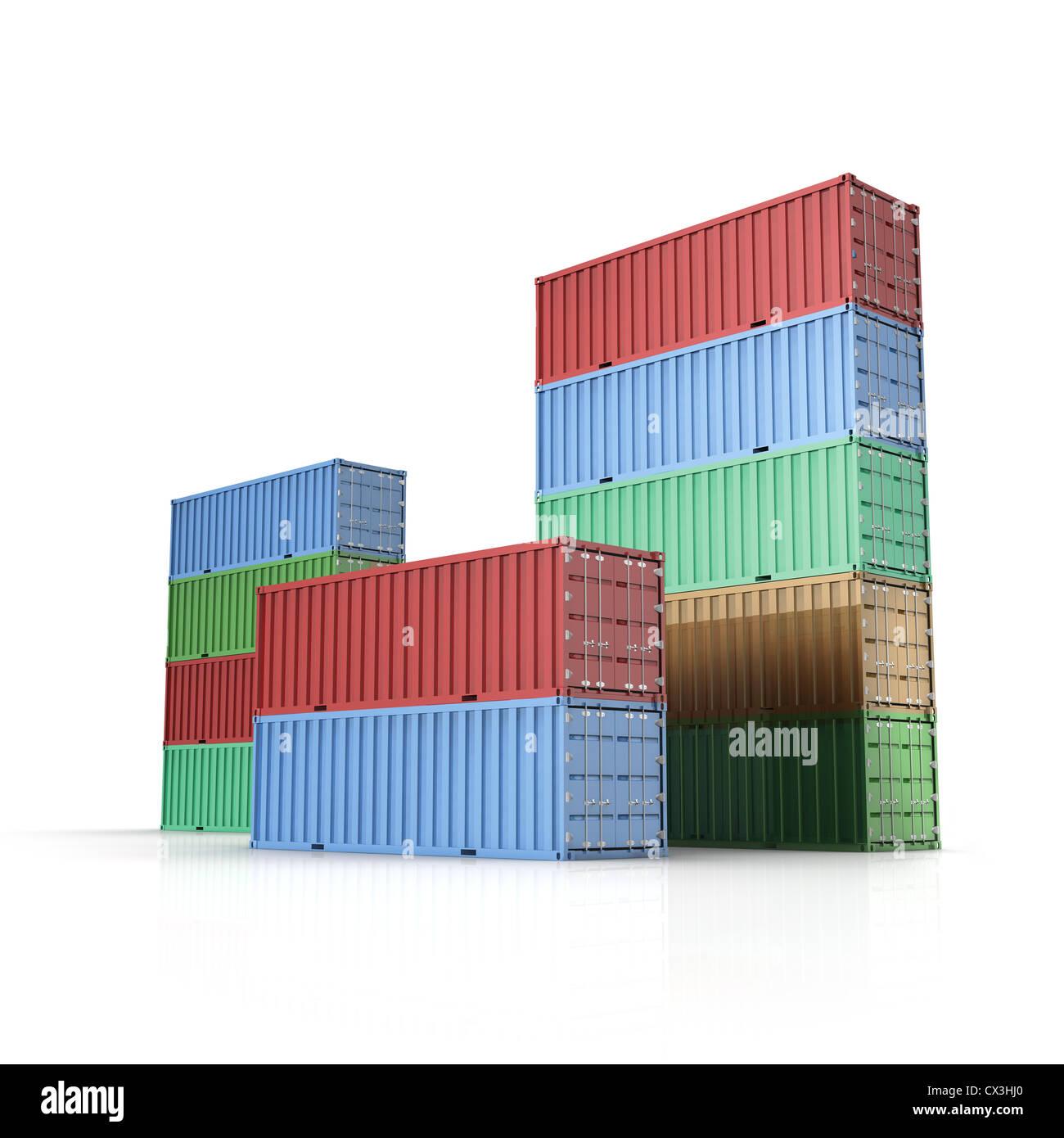 Container / Frachtcontainer für Schiffsfracht auf weissem Hintergrund - International Container for cargo - Stock Image