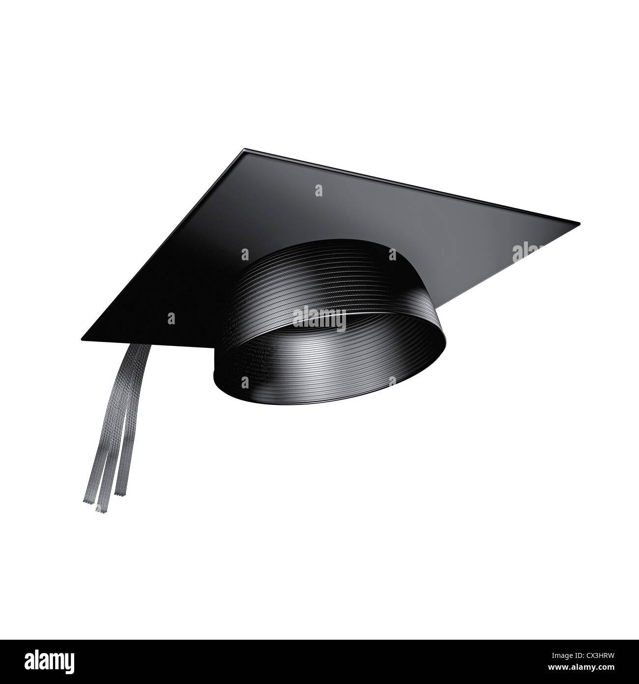 fliegender Doktorhut oder Graduierten Kappe auf weissem Hintergrund - flying mortarboard or doctor hat in a blue - Stock Image