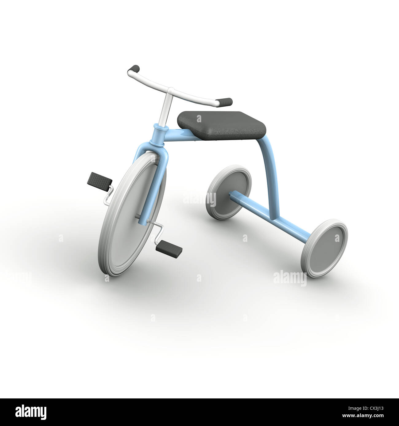 Hellblaues Retro Dreirad mit weissen Reifen auf weissem Hintergrund - One blue Tricycle with white Wheels on White - Stock Image
