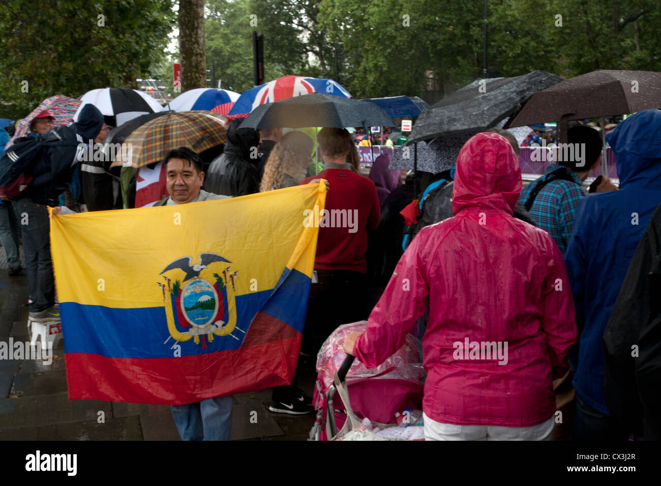 Supporter with Ecuadorian Flag at Woman's Marathon London Olympic Games Victoria Embankment London England - Stock Image