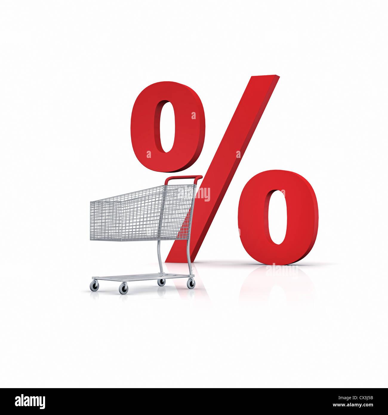Einkaufswagen mit rotem Prozentzeichen auf weissem Hintergrund - silver shopping cart with percentage sign on white - Stock Image