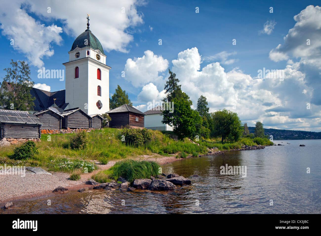 Rättvik Church along Lake Siljan, Dalarna, Sweden - Stock Image