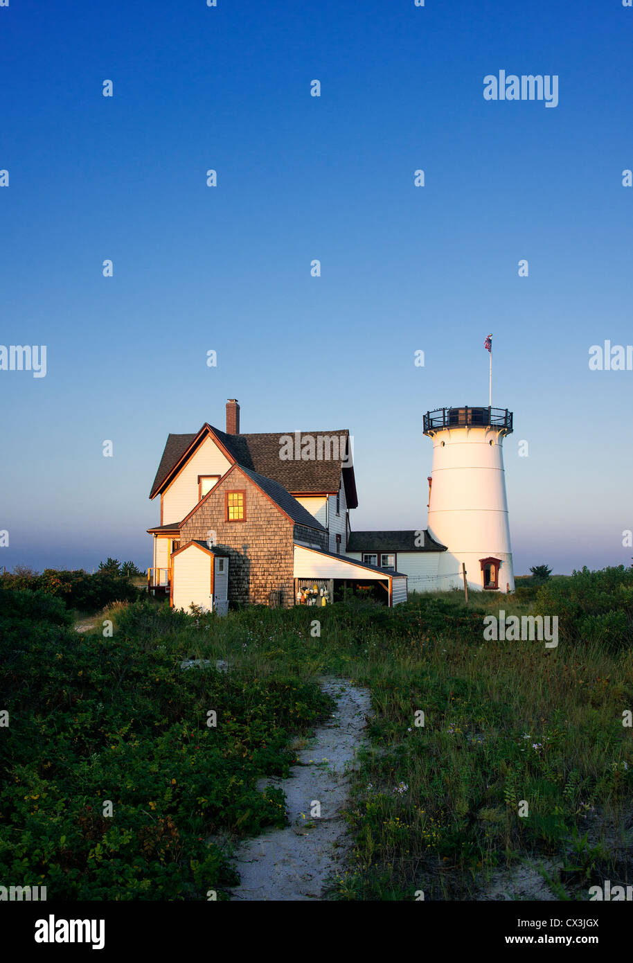 Stage Harbor Lighthouse, Chatham, Cape Cod, Massachusetts, USA. Also known as Harding's Beach Lighthouse. 1880 - Stock Image