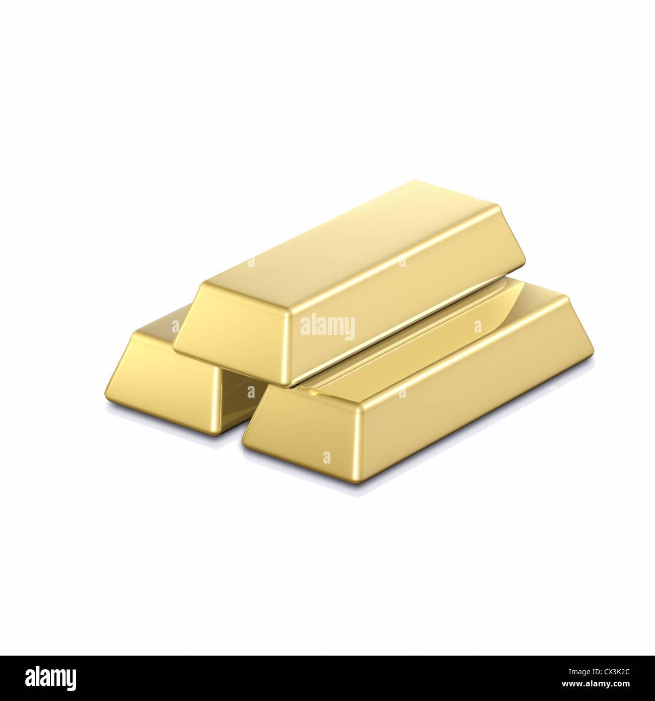3 Goldbarren auf weissem Hintergrund - 3 gold bars - Stock Image