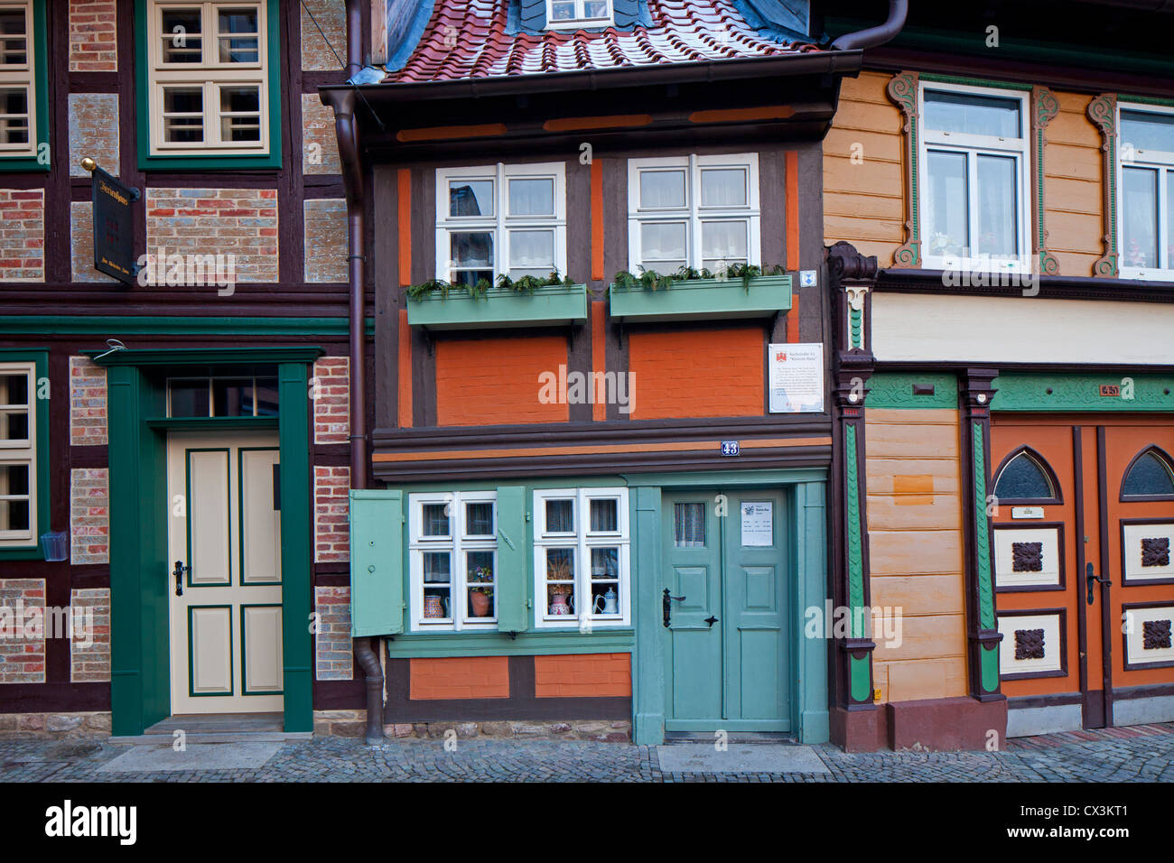 Wernigerode's smallest house in the Kochstrasse, now a museum, Wernigerode, Harz, Saxony-Anhalt, Germany - Stock Image