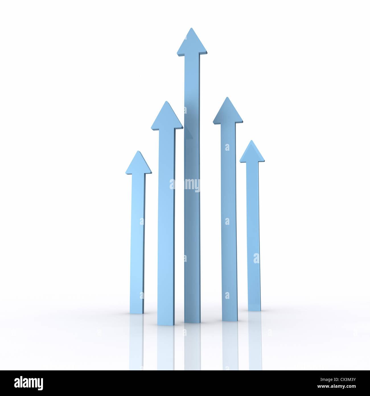 5 blaue Pfeile unterschiedliche Länge zeigen nach oben auf weissem Hintergrund - blue arrows pointing upwards on Stock Photo