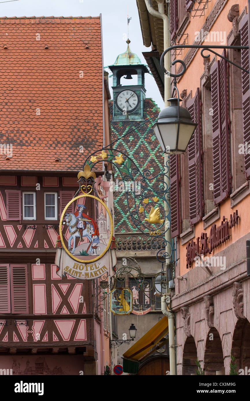 colorful architecture buildings colmar town france - Stock Image