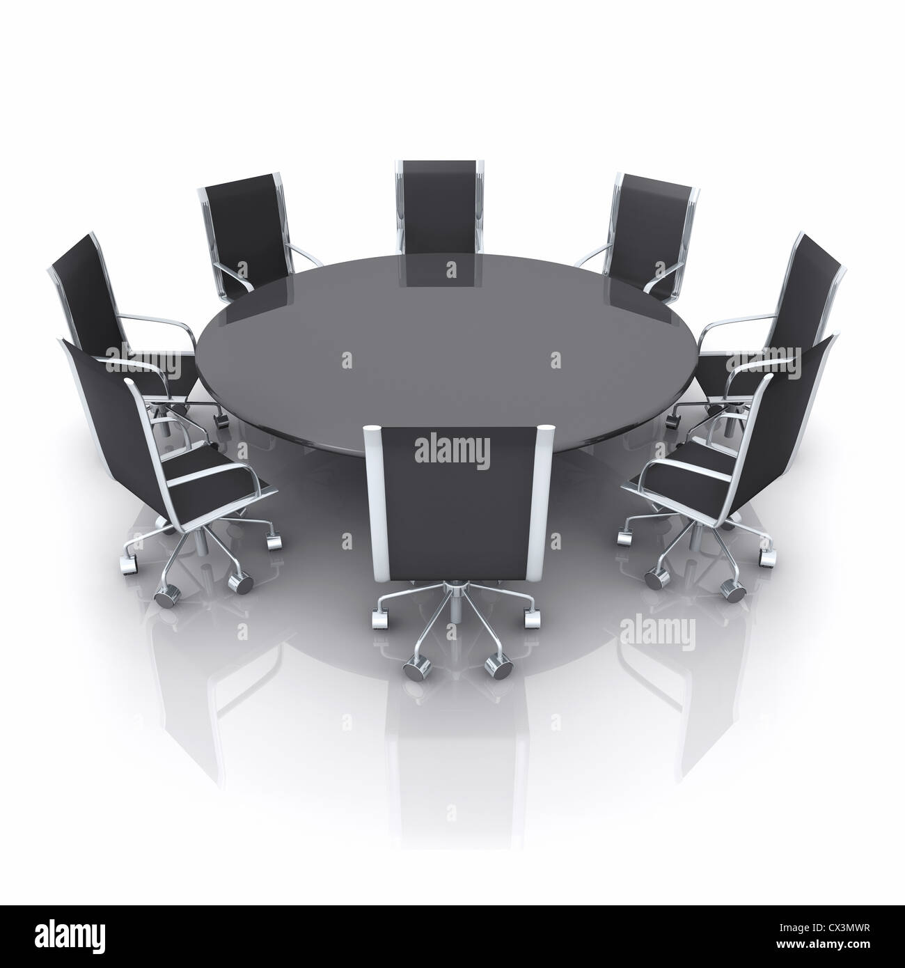 contemporary empty meeting room with a black shiny table on white stock photo 50484051 alamy. Black Bedroom Furniture Sets. Home Design Ideas