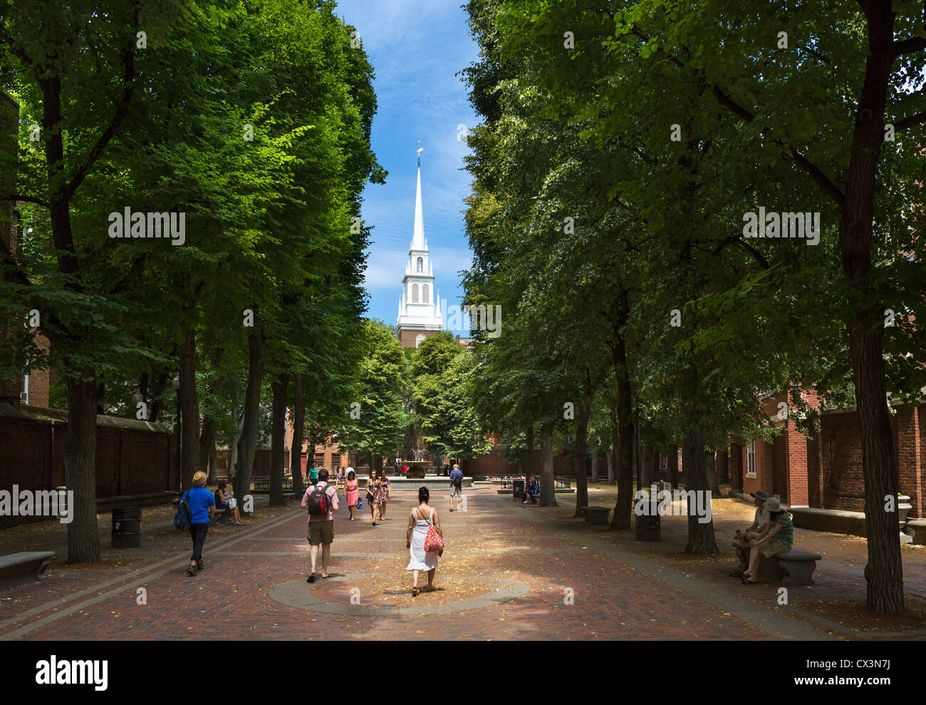 View down Paul Revere Mall to the Old North Church on the Freedom Trail, North End, Boston, Massachusetts, USA - Stock Image