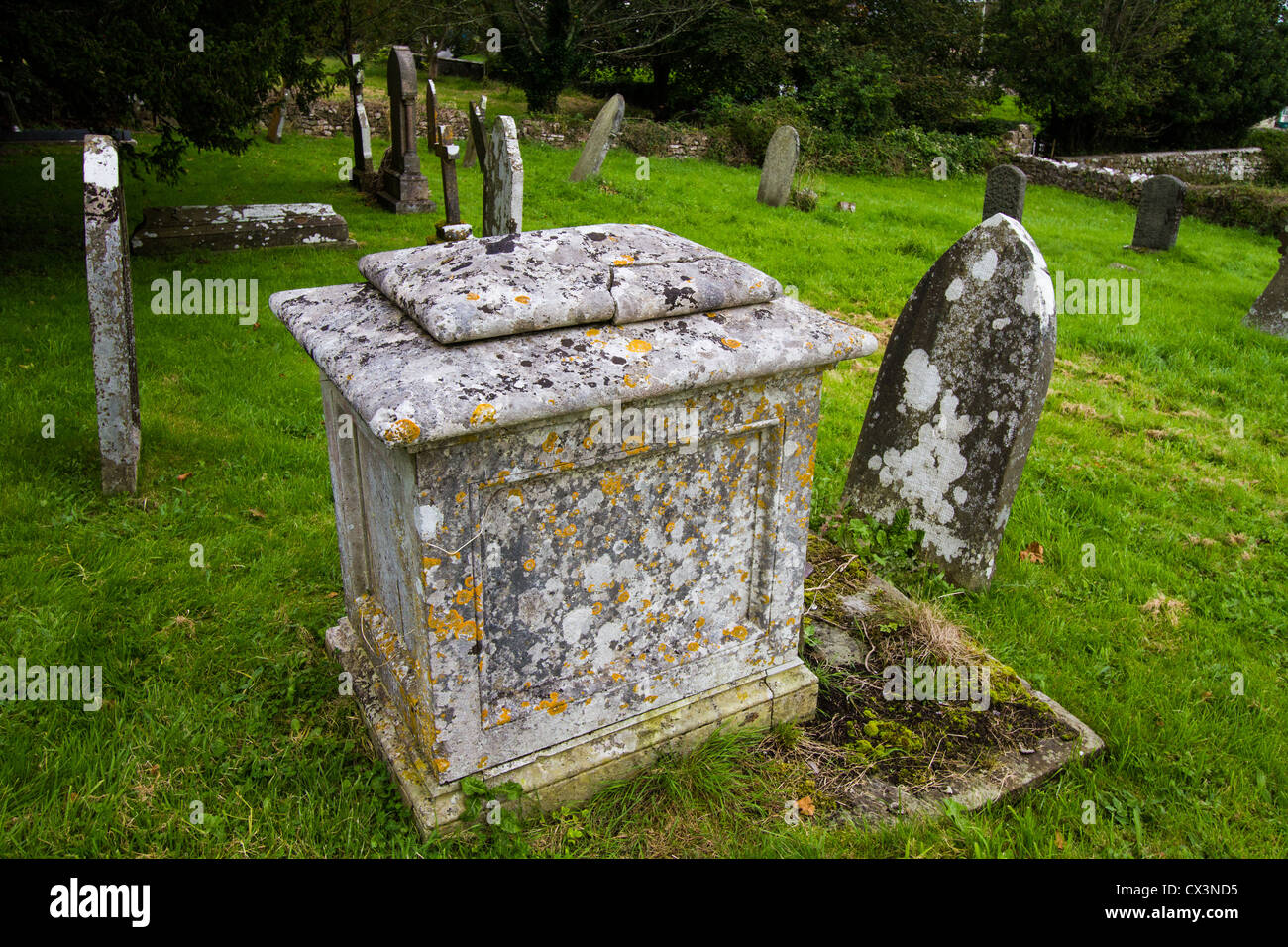 Tombstones with attractive mottled patterns of lichens on them - Stock Image