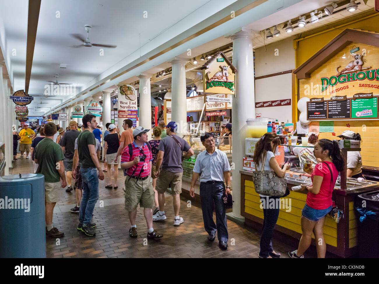 Food Stalls In Quincy Market In Historic Downtown Boston Stock Photo 50484487 Alamy