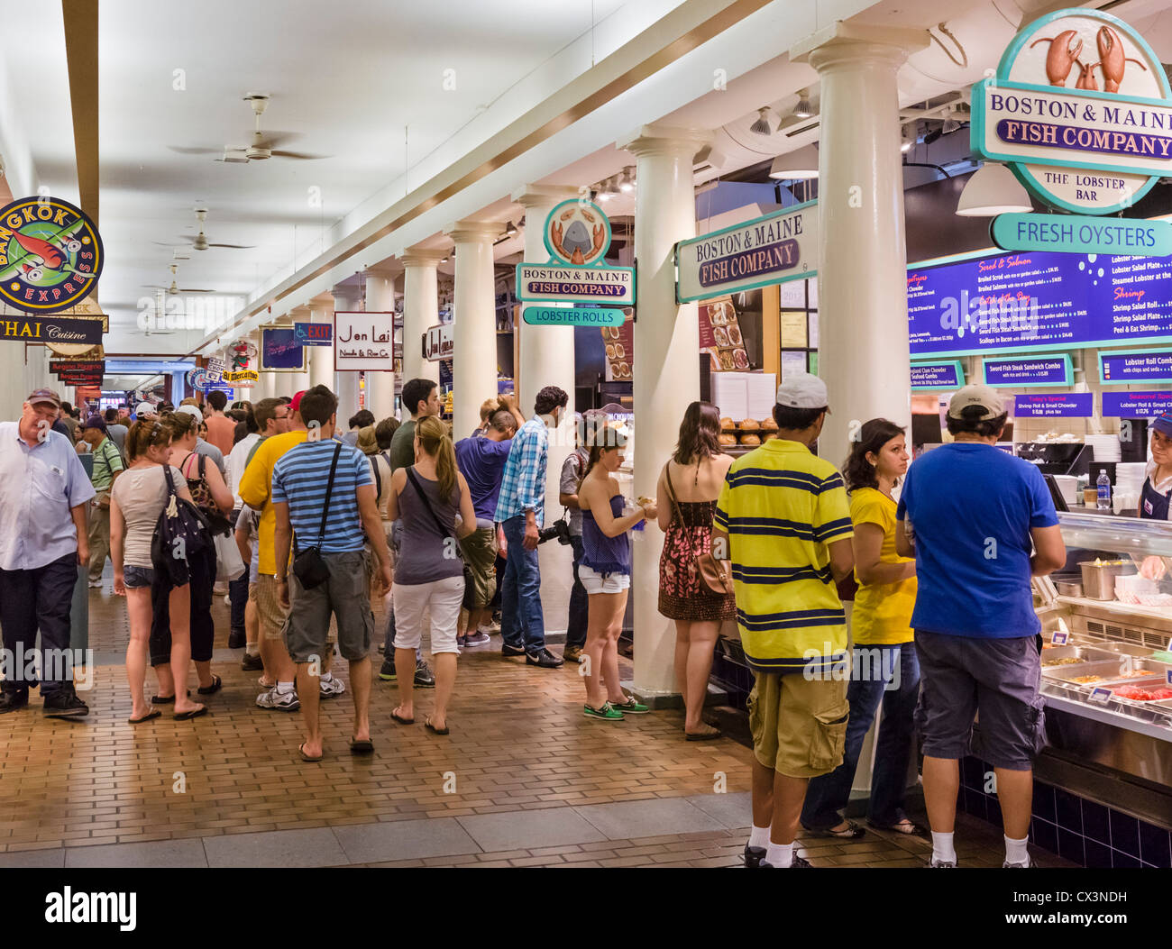 Food stalls in Quincy Market in historic downtown Boston, Massachusetts, USA - Stock Image
