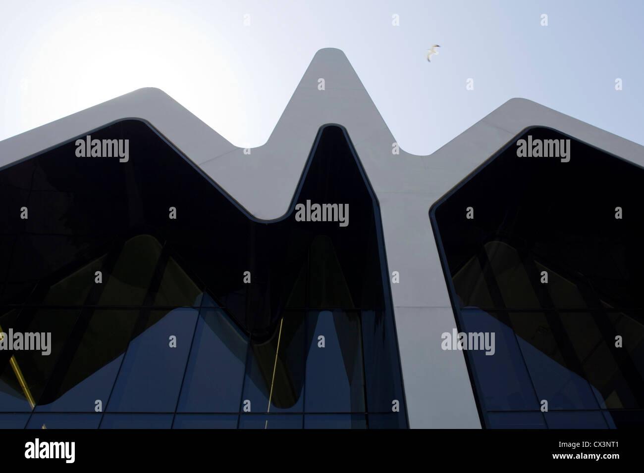 Glasgow Riverside Museum of Transport, Glasgow, United Kingdom. Architect: Zaha Hadid Architects, 2012. Detail of - Stock Image