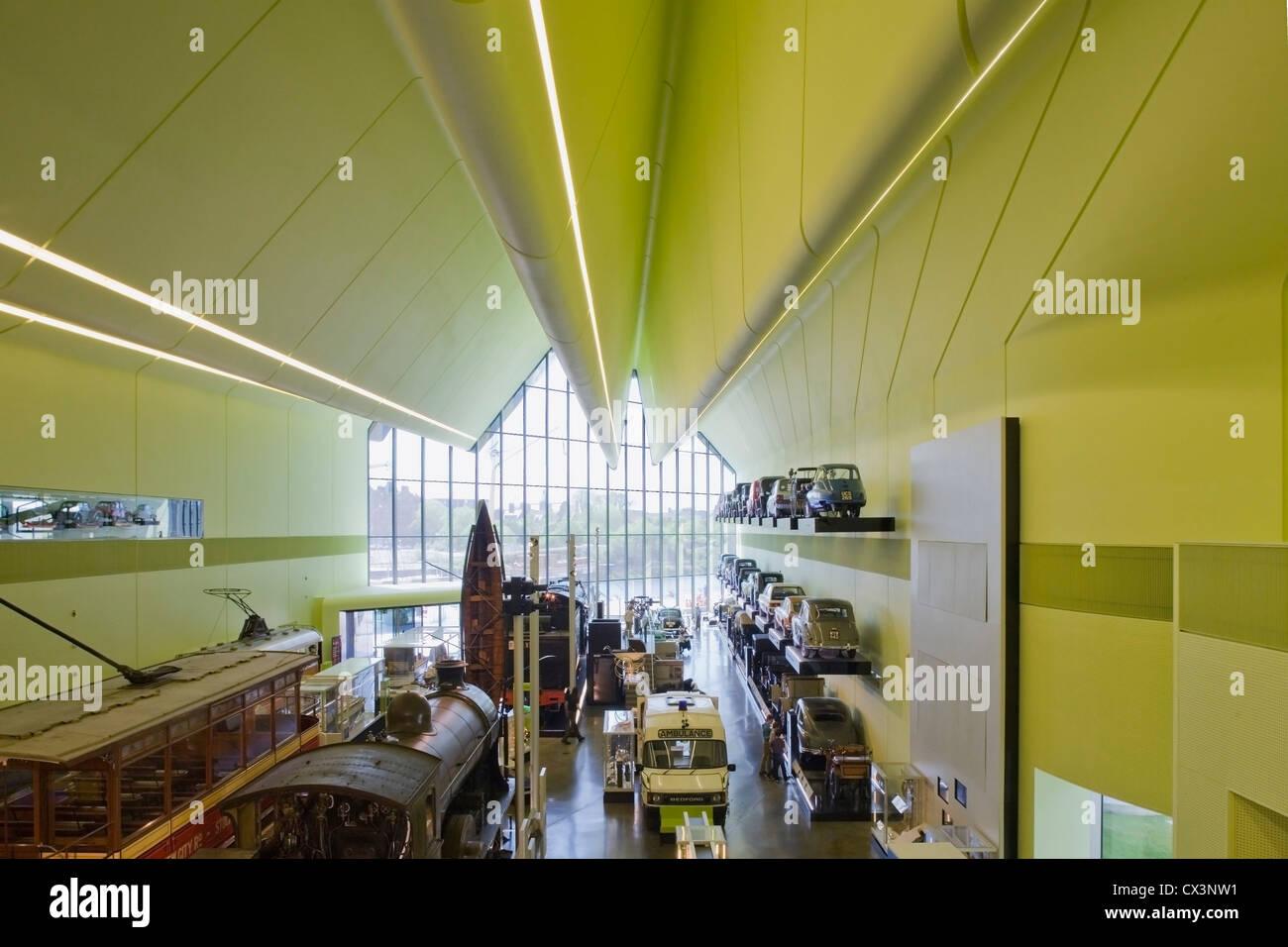 Glasgow Riverside Museum of Transport, Glasgow, United Kingdom. Architect: Zaha Hadid Architects, 2012. interior - Stock Image