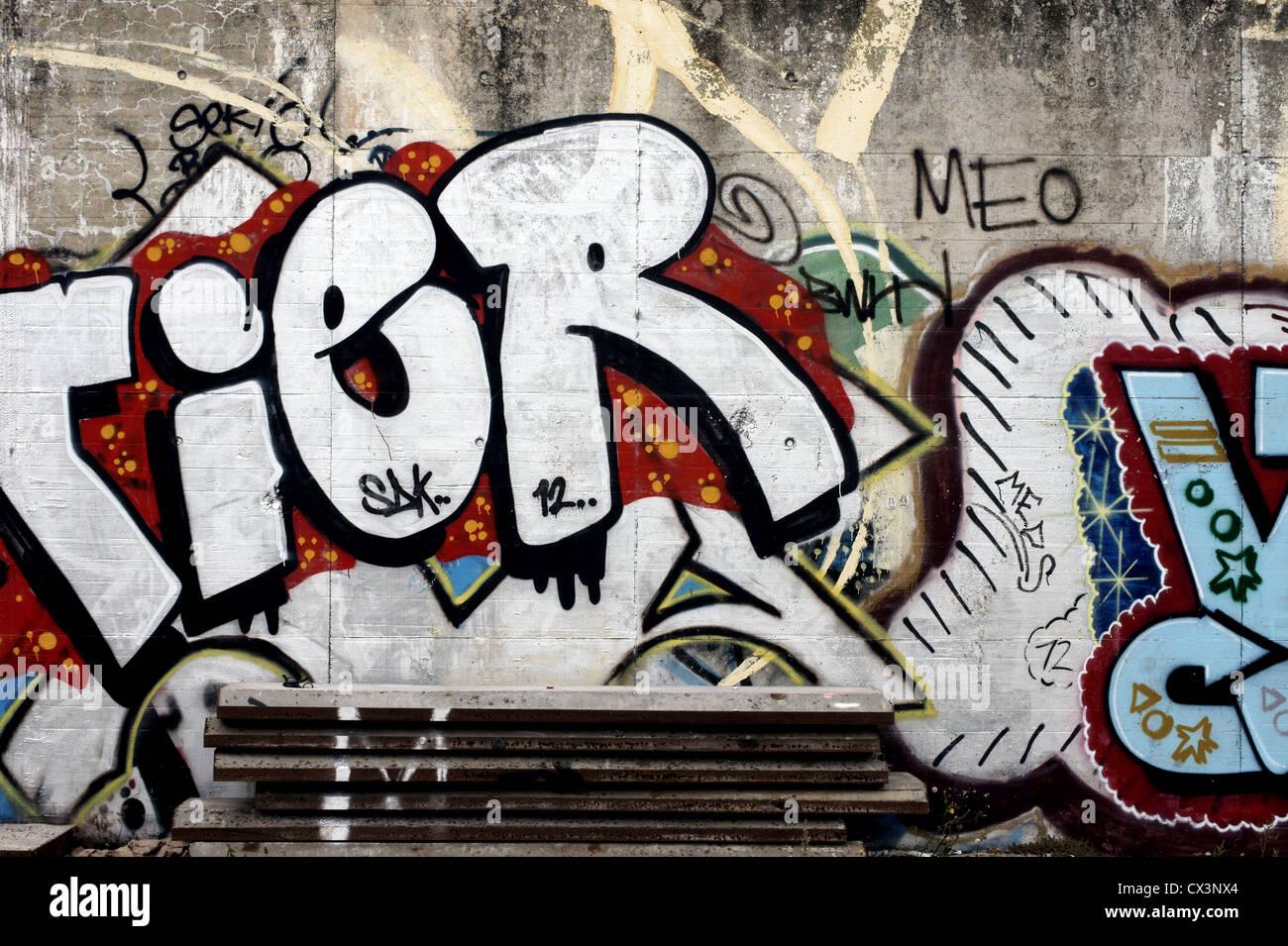 Graffiti on a wall - Stock Image