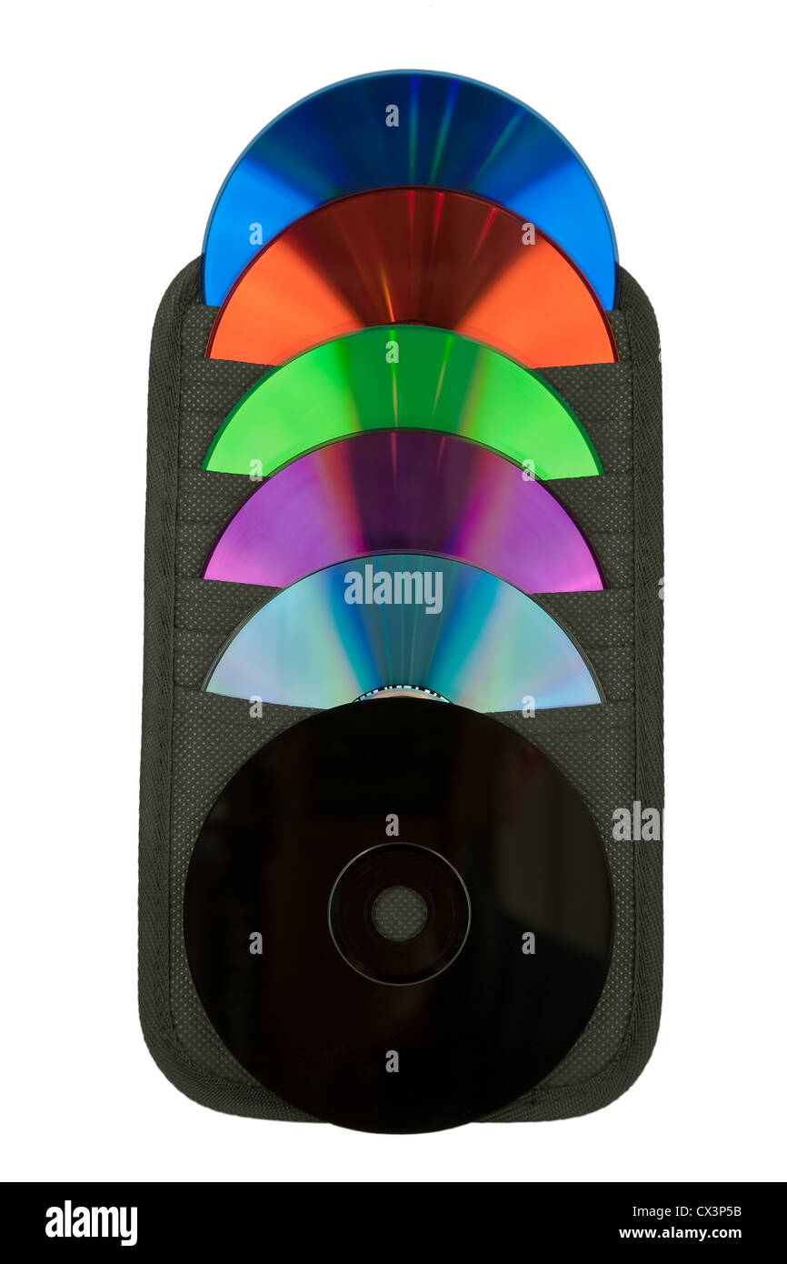 CD and their various colors in a flat container - Stock Image