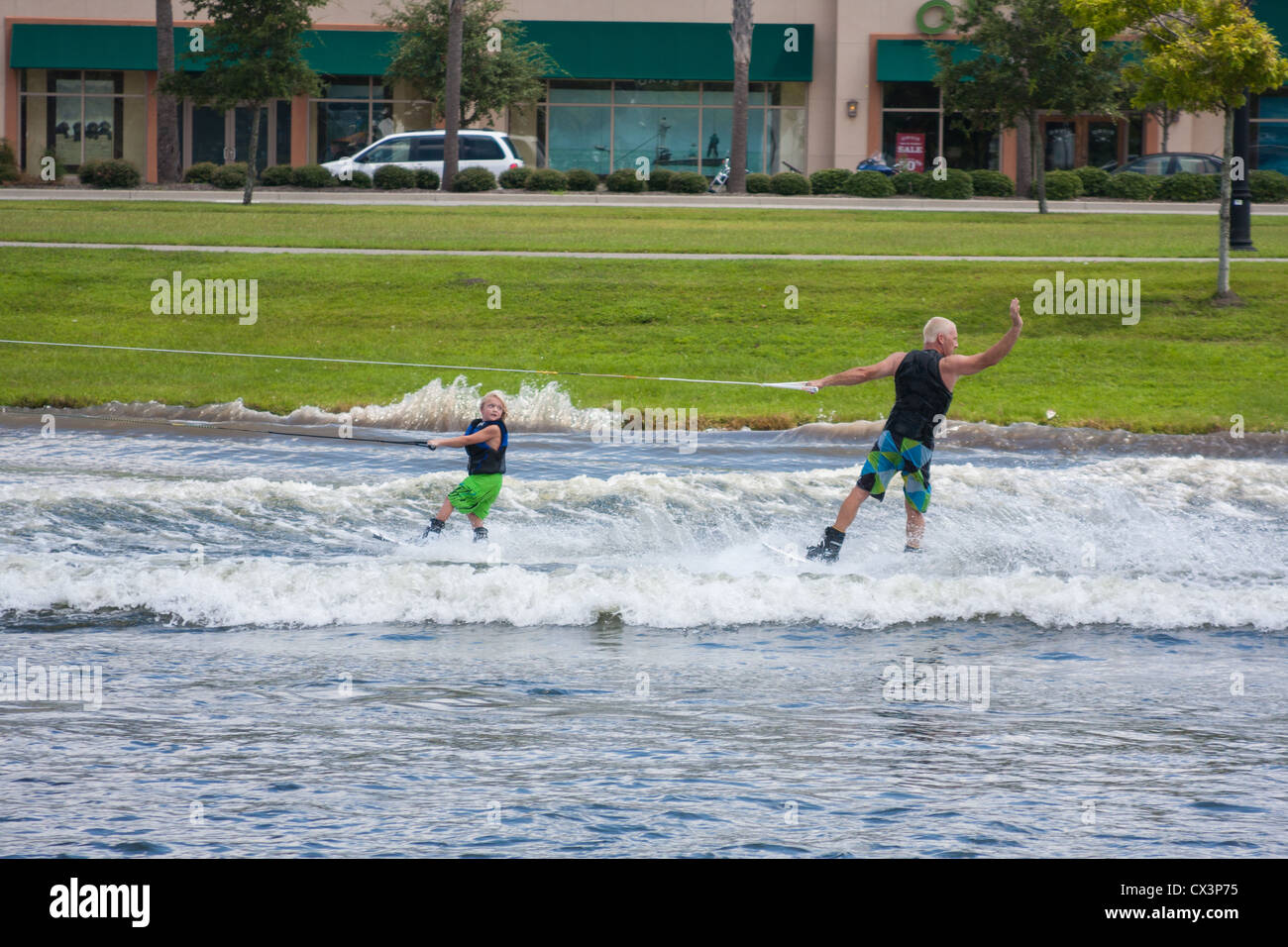 Wakeboard Demonstrations On The Lake - Stock Image