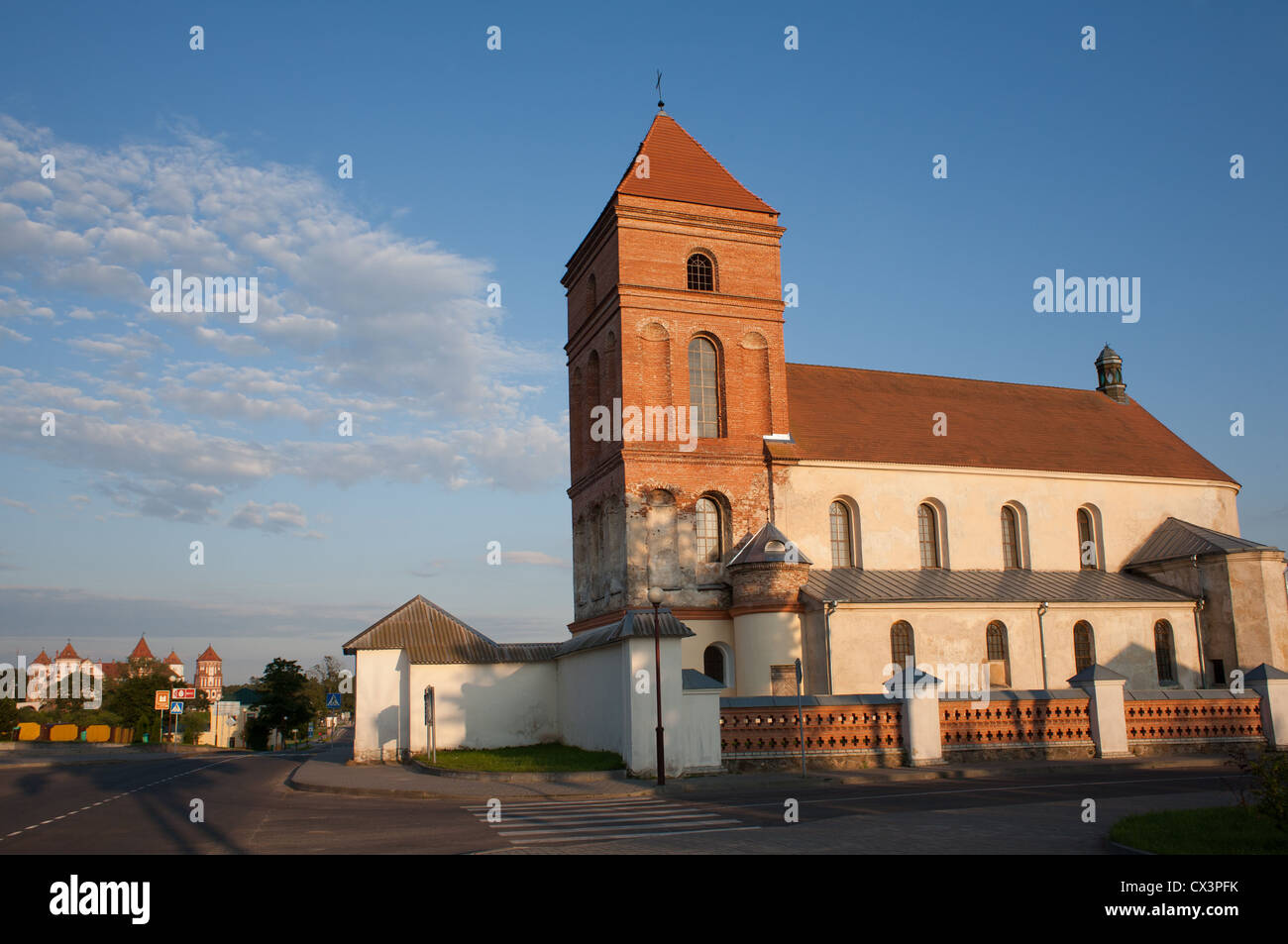The Catholic Church Bishop of St. Nicholas and Mirsky Castle Complex in Mir, Karelichy raion, Hrodna Voblast, Belarus. - Stock Image