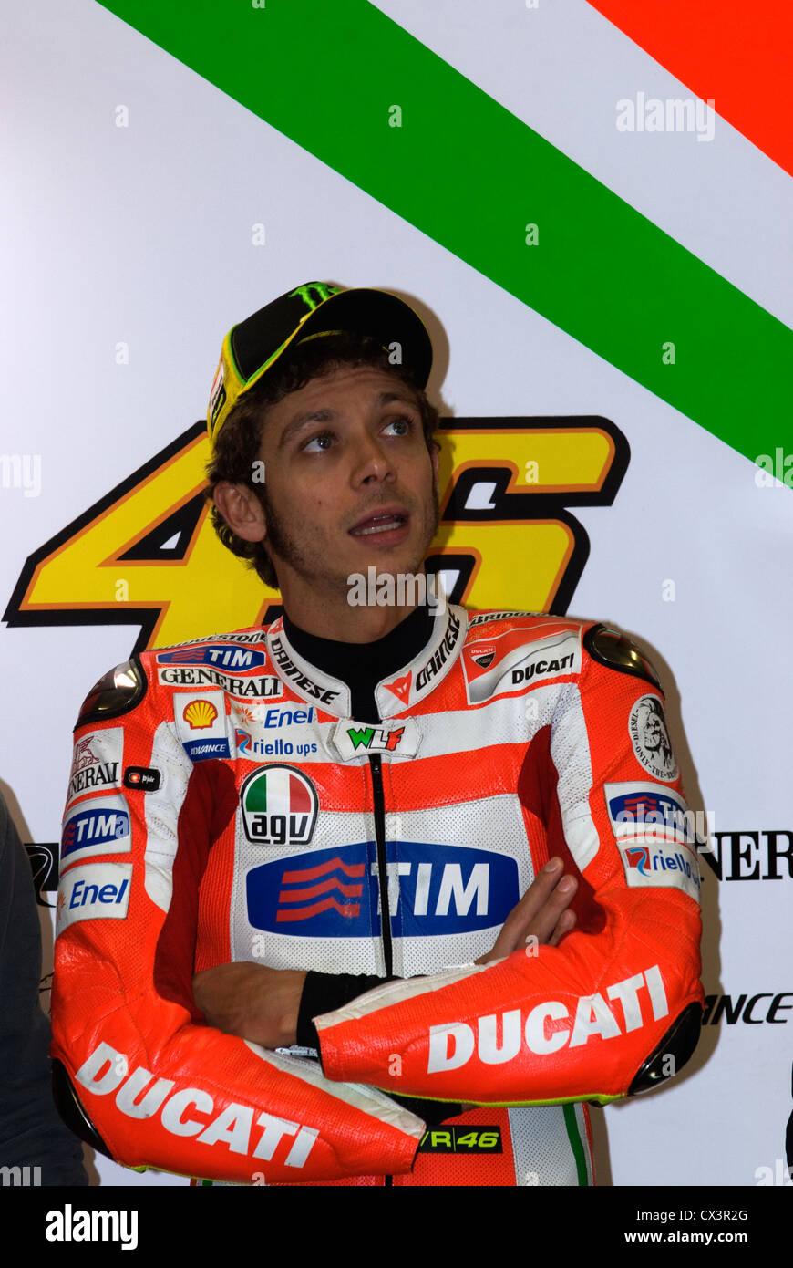Valentino Rossi Italian Ducati rider in the box Stock Photo