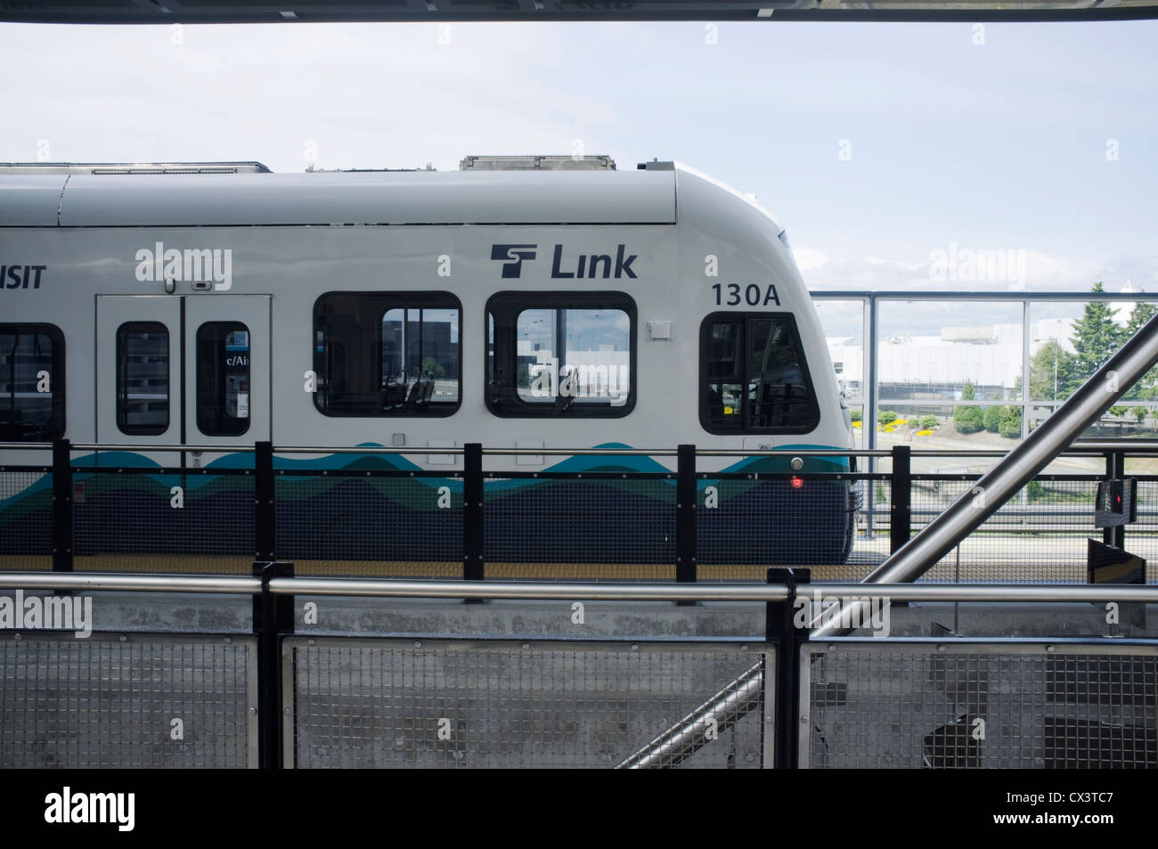 Seattle, Washington State, USA Sound Transit Train at Seattle Sea-Tac Airport - Stock Image