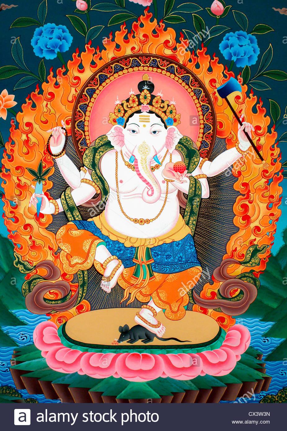 Nepali Painting Of Ganesh Or Ganesha The Hindu God Who Is