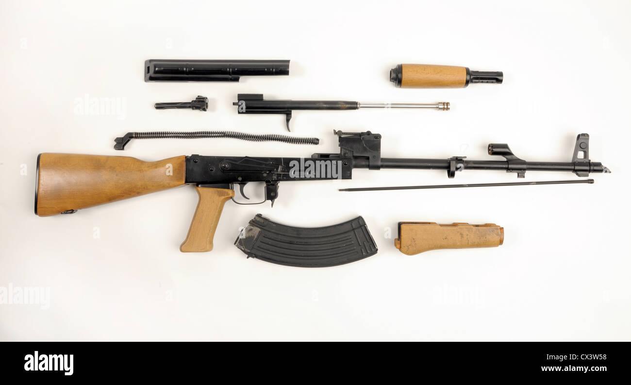Field stripped AK47 AKM assault rifle - Stock Image