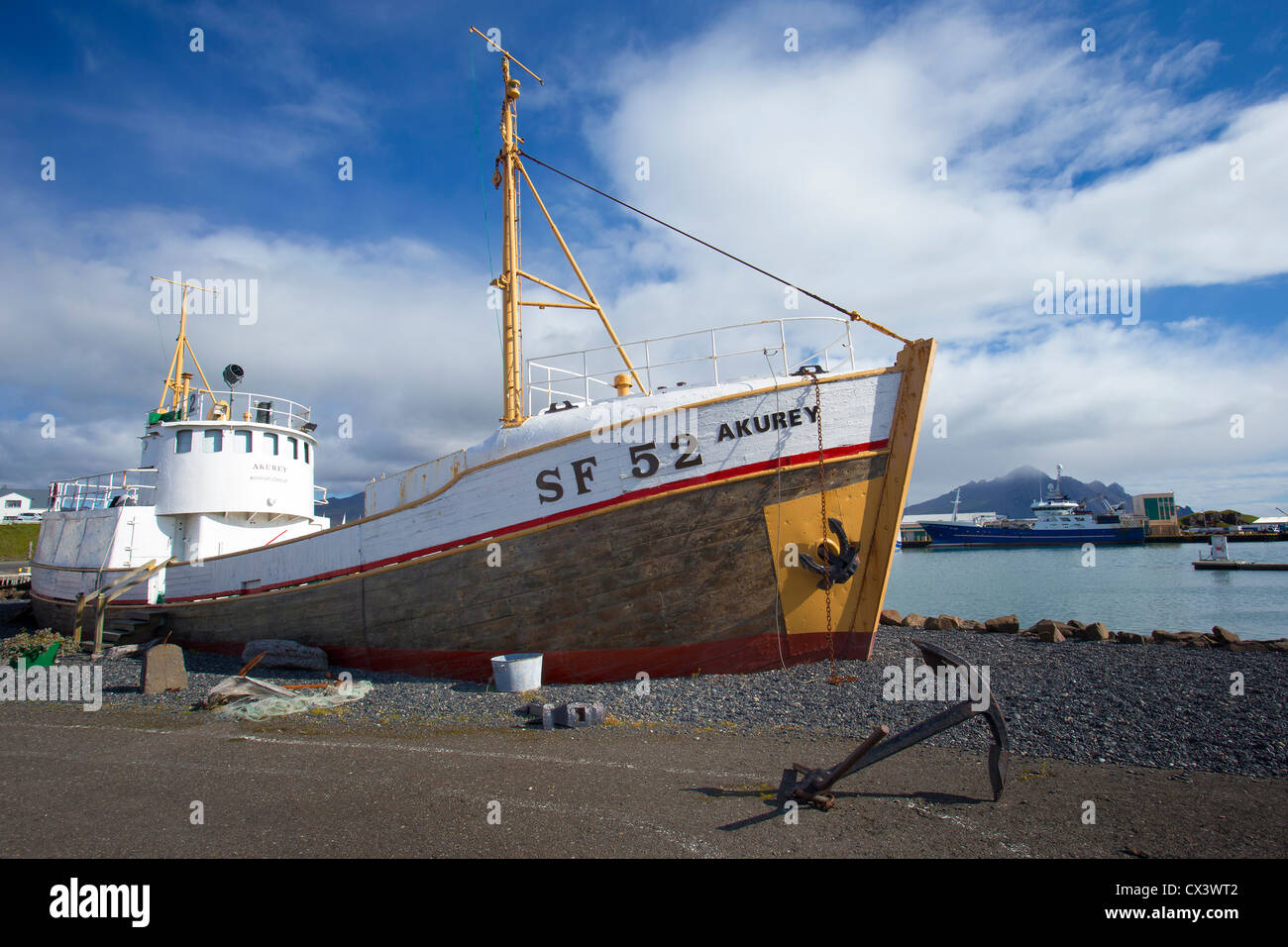 Fishing Vessel, SF 52 Akurey, on display as a monument at Hofn Harbour (Höfn Í Hornafirđi), South East - Stock Image